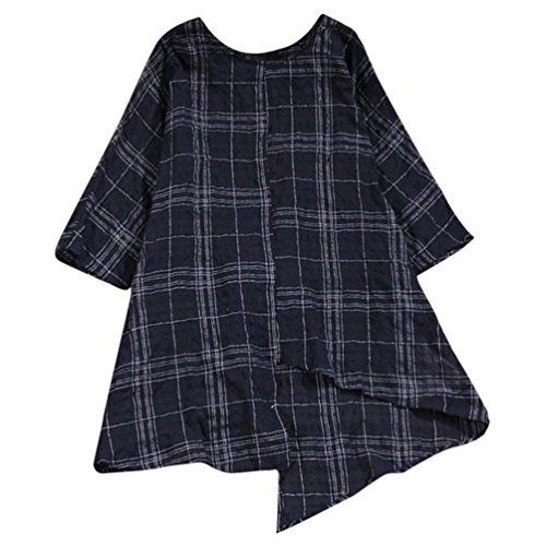 Srogem Womens Tops QISC Women's 3/4 Sleeve Cotton Linen Jacquard Blouses Top T-Shirt (M, Black) by Srogem Womens Tops
