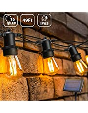 Guirnaldas luminosas Solar de Exterior,OxyLED S14 15+1 IP65 Impermeable,Luces Decorativas Ideal para Jardín, Terraza, Patio, Exterior, Navidad