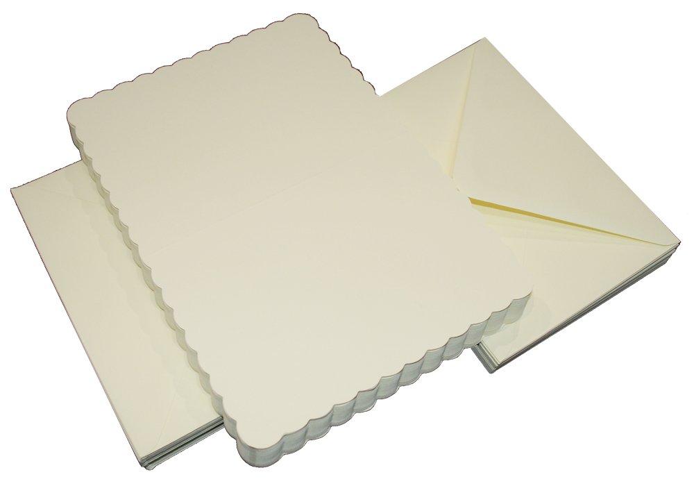 Craftsuk Manualidades UK 50tarjetas festoneadas y sobres, blanco, 5x 5-inch-p, cartón, Blanco, 25 x 55 mm Crafts UK 385 836