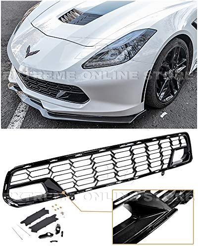 Extreme Online Store Replacement for 2014-2019 Chevrolet Corvette C7 All Models | GM Factory Z06 Style Painted Carbon Flash Metallic Front Bumper Lower Grille Cover (with Front Camera Bracket)