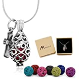 """Maromalife Essential Oil Necklace Lava Stone Diffuser Necklace with 24"""" Chain and Colors Beads [Teardrop]"""