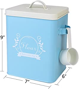 H102 Square Metal Food/Flour/Sundries Kitchen Storage Tin Canister/Bucket/Containers with Lid And Scoop (blue)