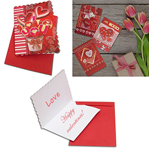 """Mini Hearts Valentines"" Greeting Cards With Red Envelopes"