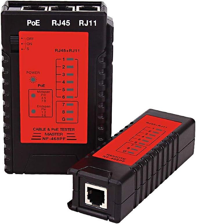 Testeur de c/âble r/éseau RJ45 et RJ11 Outil de test de r/éseau Ethernet LAN Testeur de c/âble r/éseau