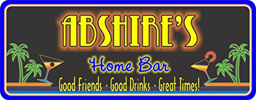 Martini Personalized Bar Sign (Martini Personalized Bar Sign with Neon Palm Trees, Custom Bar Sign, Beach Bar Sign)