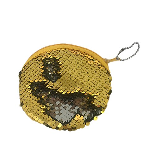 Price comparison product image HeavFYj Round Organizer Sequins Coin Purse Pocket Change Wallet Zipper Earphone Pouch - Yellow
