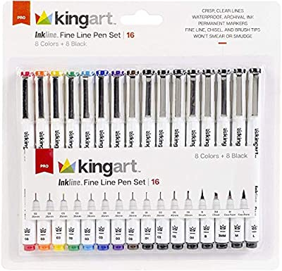 KINGART 436-16 Inkline Fine Line Pen Set (Mixed Point Sizes/Colors and Brush Tips), Set of 16 Piece
