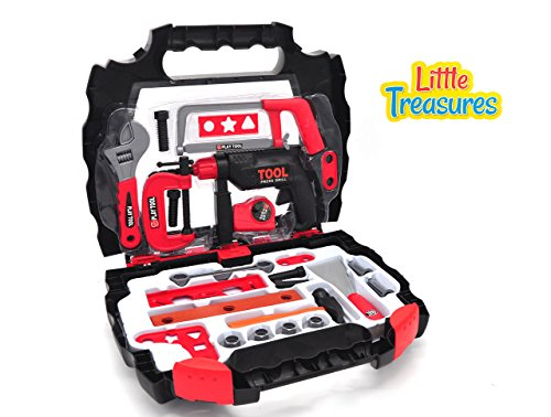 Value Bolt Cutter (Little Treasures realistic pretend play toolkit toy set for preschoolers – multiple tools such as hammer, clamp, level ruler, wood file, chisel, pliers, drill, screws & bolts in easy-to-carry case)