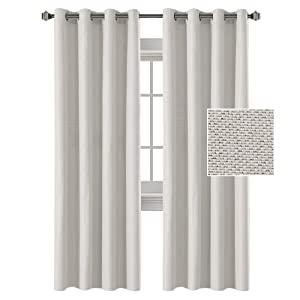 H.VERSAILTEX Linen Curtains White 84 Room Darkening Light Blocking Curtains Thermal Insulated Heavy Weight Textured Rich Linen Curtains for Bedroom/Living Room, 52 by 84 Inch - Off White (2 Panels)