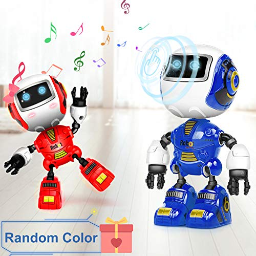 (Kids Mini Robot Toys Electronic Learning Toys Travel Handheld Touch Sensor Voice Changer DIY Posable Body LED Lights Eyes Protection Alloy Smart Sensing Pet Toddlers Boys Girls Holiday Birthday Gifts)