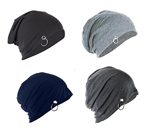 FAS Unisex Solid Beanie and Skull Cap Ring  Multicolour, Free Size    Pack of 4