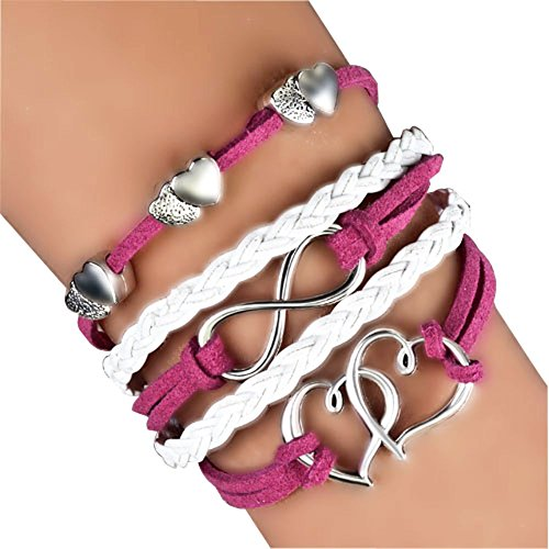 - LovelyJewelry Leather Wrap Bracelets Girls Double Hearts Infinity Rope Wristband Bracelets (Rose Pink)