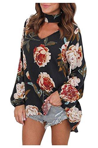 Aifer Women Loose Choker V-Neck Shirt Chiffon Floral Print Blouse Tops - Chiffon V-neck Tunic Top