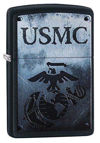 Zippo USMC Logo Pocket Lighter, Black (Country Textured Matte)
