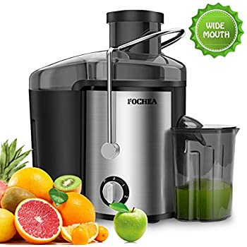 Juicer Wide Mouth Juice Extractor,FOCHEA Juicer Machine,3 Speed Centrifugal Juice For Fruits & Vegetable with Anti-drip Function,Stainless Steel and BPA ...