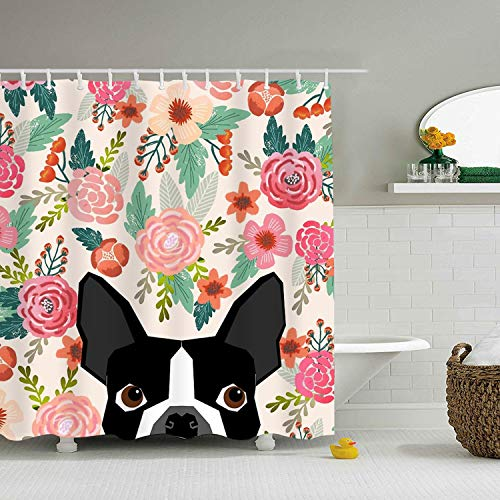 ROOMY Boston Terrier Dog Florals Shower Curtain Waterproof Bathroom Decor with Shower -