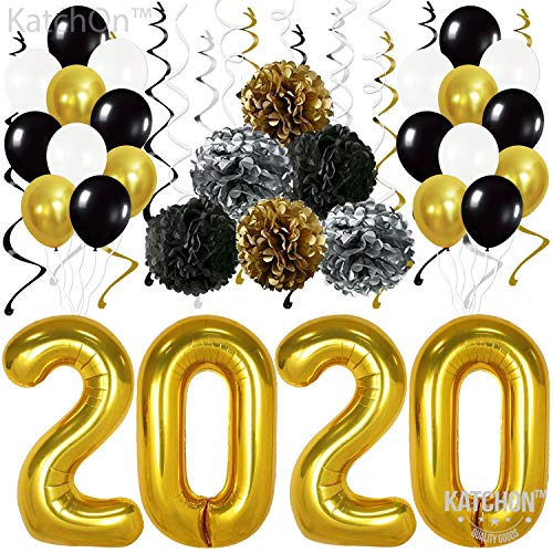 Gold 2020 Balloons Decorations Banner - Pack of 31 | Black Gold Silver Hanging Party Swirls, Tissue Paper Pompoms and Latex Balloon | Graduations Party Supplies Kit, New Years Eve Party Supplies 2020