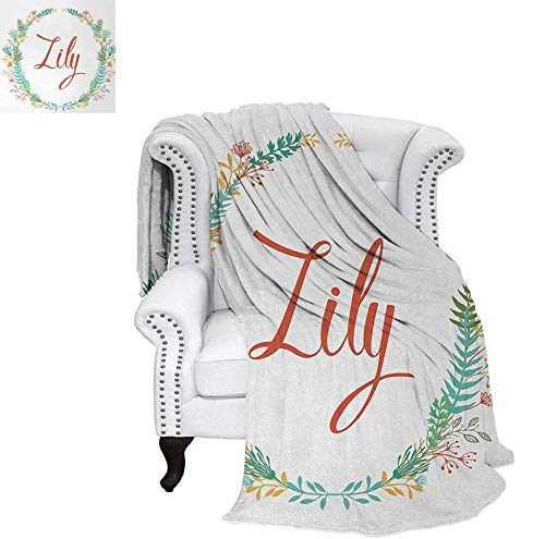 - Sunset glow Lily Throw Blanket Colorful Wreath Design with Foliage Leaf Celebratory Girl Name Classic Nature Pattern Swaddle Blanket 60 x 50 inch Multicolor