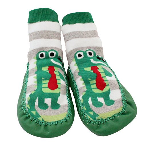 Baby Toddlers Kids Indoor Slipper Shoe Socks Moccasins NON SKID GREEN GREY STRIPE CROCODILE (Age 1-2 (Sole length ()