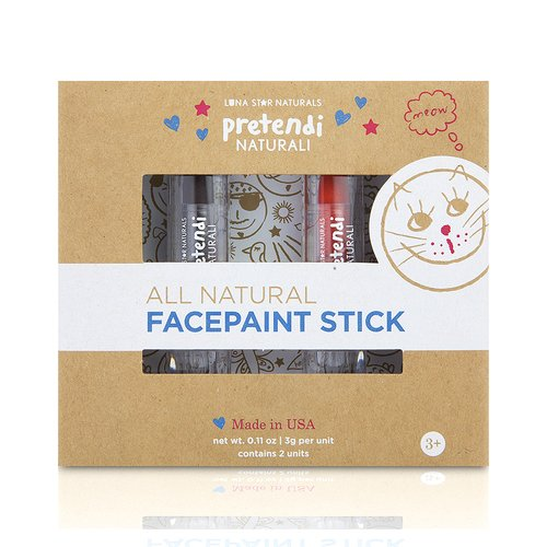 Luna Star Naturals Pretend All-Natural Mineral Face Paint Duo Stick, Orange/Brown ()