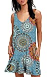 BISHUIGE-Women-Floral-T-Shirt-Dresses-Summer-Vest-Dress-2XLarge-FL-Mix-Blue