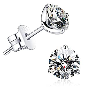 """""""STUNNING FLAME"""" 18K Gold Plated Silver Brilliant Cut Simulated Diamond CZ Stud Earrings, 0.9ct"""