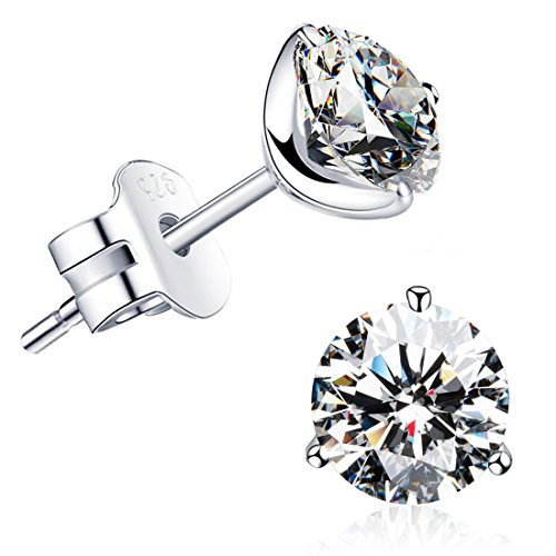 'STUNNING FLAME' 18K Gold Plated Silver Brilliant Cut Simulated Diamond CZ Stud Earrings (white-gold-plated-sterling-silver, 1.5)