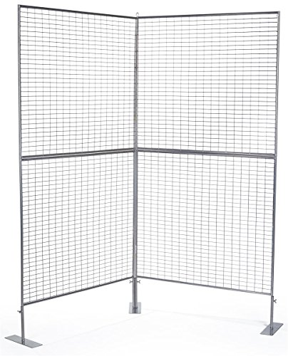 Displays2go 75''h 2-Panel Exhibit Displays, Iron Construction, Floor Standing, Double Sided – Silver Finish (AD2PNL) by Displays2go