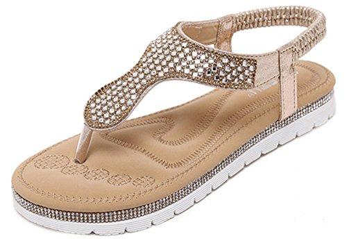 Easemax Mode Féminine Strass Élastique T-strap Tongs Sandales De Plage Or