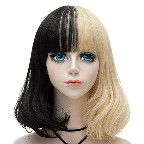 Cruella Deville Costume Makeup (Probeauty 14 Inches Women Girls Short Bob Wavy Synthetic Wig with Full Bangs Mix Color (Black mix Blonde))
