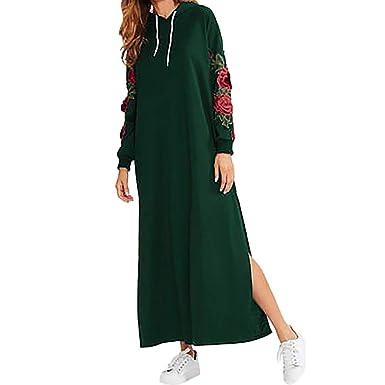 ebe9a7783e6f NPRADLA Sommer Lange Blusenkleid Damen Maxi-Kleid Casual Langarm Blumen  Stickerei Pullover Mit Kapuze  Amazon.de  Bekleidung