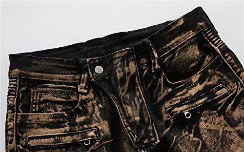 Moto W28 In Motociclista Adelina Oro Uomo Argento A Abbigliamento W34 Jeans Skinny Pantaloni Rivestiti L019 Kupferig Roso Da cg6qqnpwWY