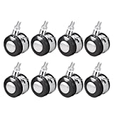 uxcell Office Chair Casters Alloy Plastic 2 Inch Twin Wheel with Brake, M8 x 15mm Threaded Stem Swivel Caster, 44lb Load Capacity, 8 Pcs