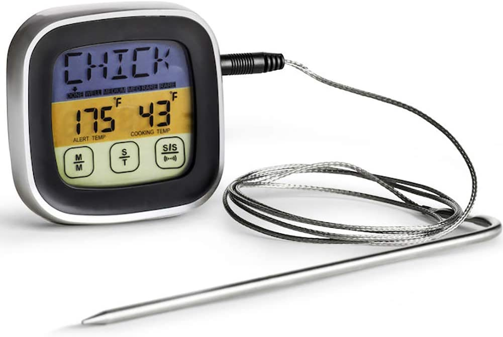 Fdit Term/ómetro de Carne Pantalla T/áctil Term/ómetro de Carne de Comida Digital Alerta de Temporizador Term/ómetro de Cocina de Lectura Instant/ánea para Cocinar Parrilla Barbacoa BBQ