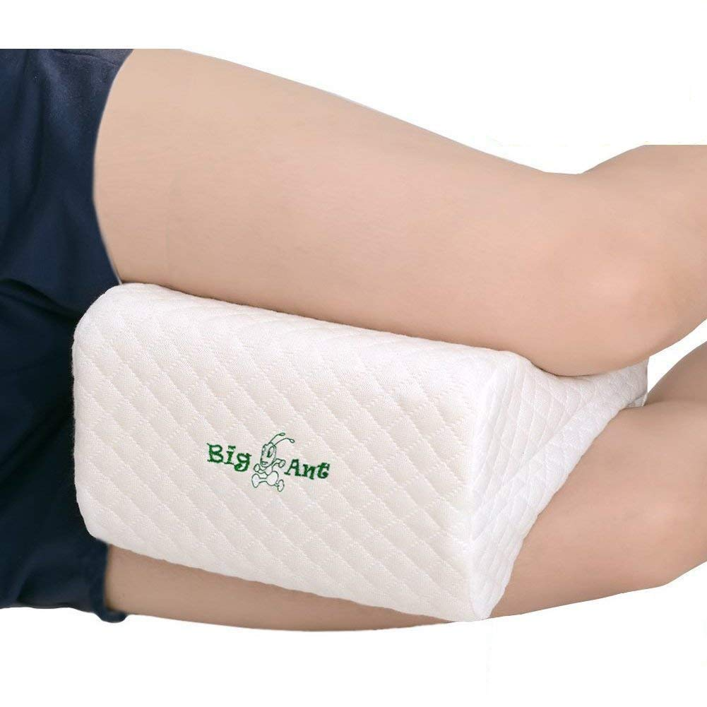 Knee Pillow, Best for Lower Leg, Back, and Knee Pain- Leg Pillow Memory Foam Wedge Contour Leg Pillow with Washable Cover Big Ant