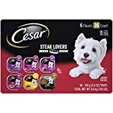 CESAR Soft Wet Dog Food Steak Lovers Variety Pack with Real Meat, (36) 3.5 oz. Easy Peel Trays