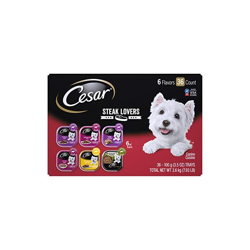 dog supplies online cesar soft wet dog food steak lovers variety pack with real meat, (36) 3.5 oz. easy peel trays