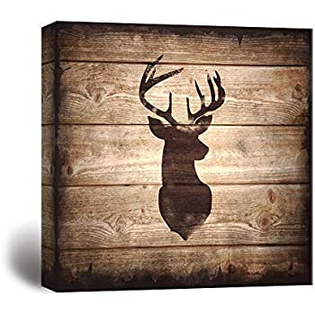 wall26 - Square Canvas Wall Art - Deer with Antler Silhouette on Rustic Wood Board Texture Background - Giclee Print Gallery Wrap Modern Home Decor Ready to Hang - 24x24 inches