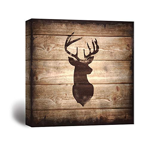 wall26 - Square Canvas Wall Art - Deer with Antler Silhouette on Rustic Wood Board Texture Background - Giclee Print Gallery Wrap Modern Home Decor Ready to Hang - 24x24 inches (Antler Deer Rustic)