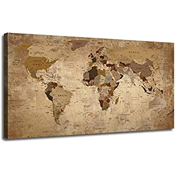 50wallart Canvas World Map Prints Beige Abstract One Panel Painting Vintage Picture Framed Artwork Ready to Hang for Living Room Home Office Dinning Room Study Room Wall Decor 48inx24in