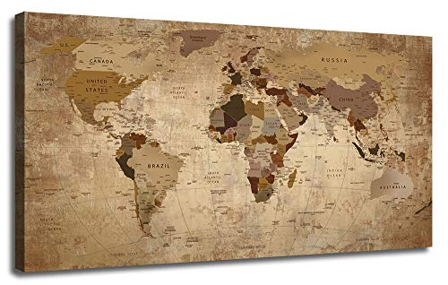 (50wallart Canvas World Map Prints Beige Abstract One Panel Painting Vintage Picture Framed Artwork Ready to Hang for Living Room Home Office Dinning Room Study Room Wall Decor 48inx24in)