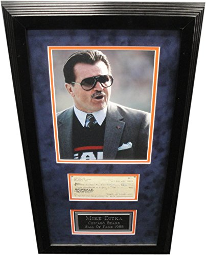 Ditka Hand Mike Signed - Mike Ditka Hand Signed Autographed Personal Check Framed w/ 8x10 Photo w/COA