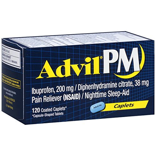 Advil PM Pain Reliever/Nighttime Sleep Aid Coated Caplet, 200 mg Ibuprofen, 38 mg Diphenhydramine, Pain Relief, 120 Count