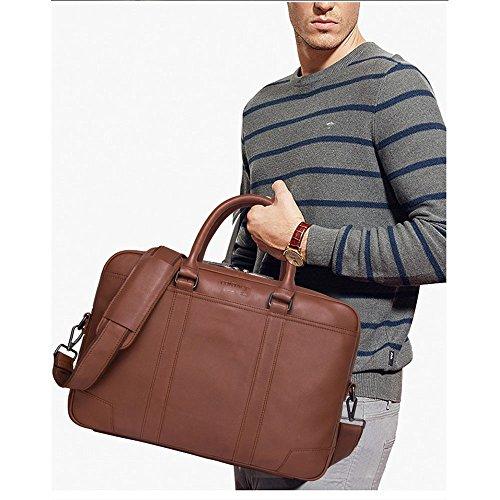 couleur Cuir Main Homme À 30 Brown Brown En 10cm Pour Sac Lbymyb Bandoulière Mallette D'affaires D'affaires brun Noir 40 aw84Iqx