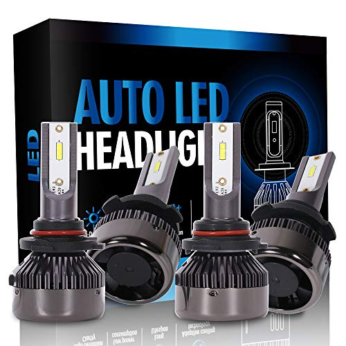 ECCPP 9005+9006 LED Headlight Bulb Super Bright Cree White Auto Headlamp Conversion Kit High Low Beam - 16000Lm 160W 6000K Focus Light - 1 Year Warranty(Pack of 4)