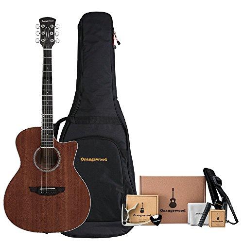Orangewood Rey Cutaway Acoustic Guitar w/ Mahogany Top, Ernie Ball Guitar Strings, Padded Gig Bag and Accessory Kit w/ Guitar Strap, Guitar Tuner, Guitar Picks, Acoustic Guitar Strings & More