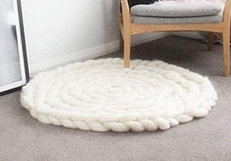 Amazon.com: Alfombra de lana ganchillo Cojín redondo Crochet ...