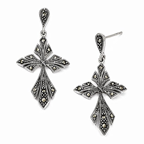 - Sterling Silver Marcasite Cross Dangle Post Earrings
