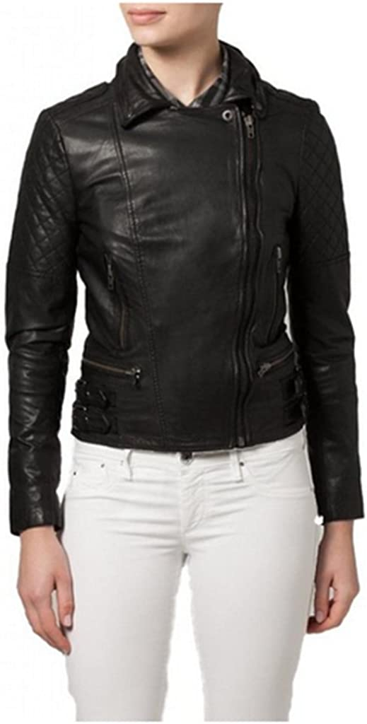 Fab Leather Womens Genuine Lambskin Bomber Biker Leather Jacket