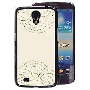 A-type Arte & diseño plástico duro Fundas Cover Cubre Hard Case Cover para Samsung Galaxy Mega 6.3 (Scaled Pattern Gold Glitter Beige Waves)